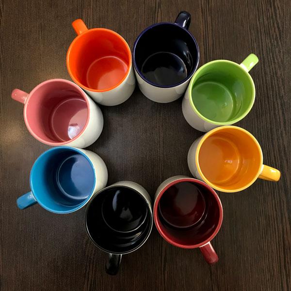 چاپ لیوان دسته و داخل رنگی
