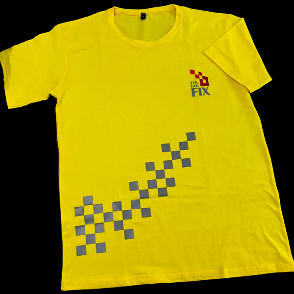 چاپ تیشرت زرد پنبه ای